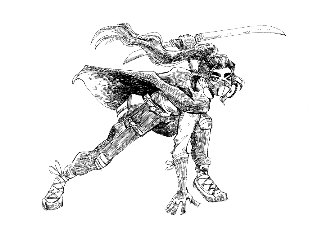 Illustration done in a hatching inking style